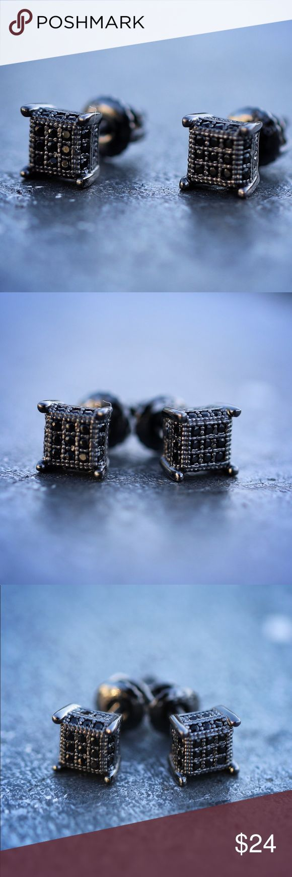 Men's Hip Hop Black Square Hip Hop Stud Earrings Men's Hip Hop Black Diamond Square Hip Hop Stud Earrings  Black lab simulated diamonds.  Black plated over 925 sterling silver. Stud size is 7mm (small size) Screw on backs included for a secure fit. TSV Jewelers Accessories Jewelry