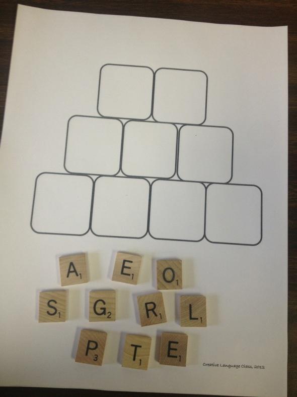 Scrabble tiles activity en francais!