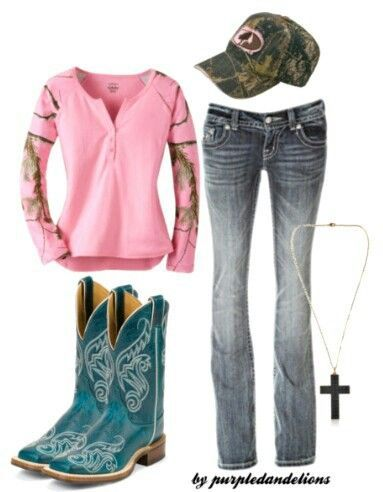 Country Girl Cowboy Boots | Camo # Country Outfit # Cowboy Boots # Mossy Oak