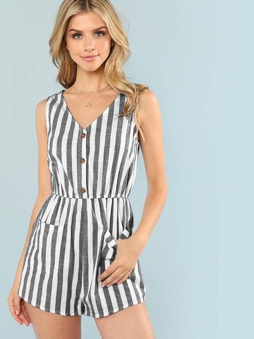 f1172273f13 Pocket Patched Stripe Button Romper - Black and White