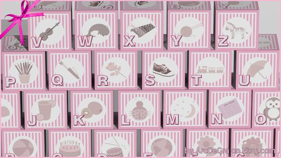 Digital baby ABC blocks Pink Printable alphabet blocks by ArcDeGra