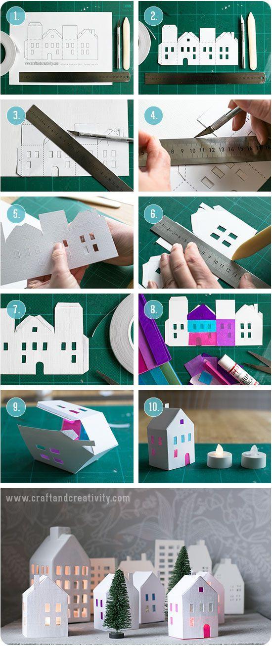 Tea light paper houses (free template) diy rhs