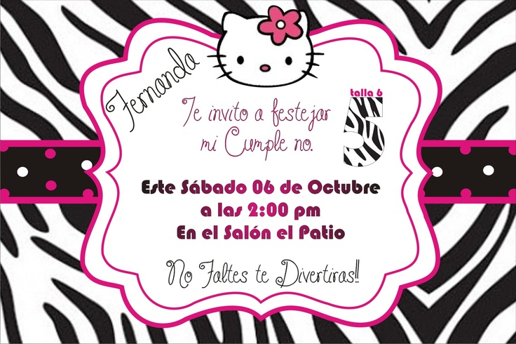Invitacion de Hello kitty zebra