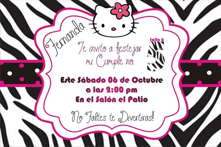 Invitacion de Hello kitty zebra