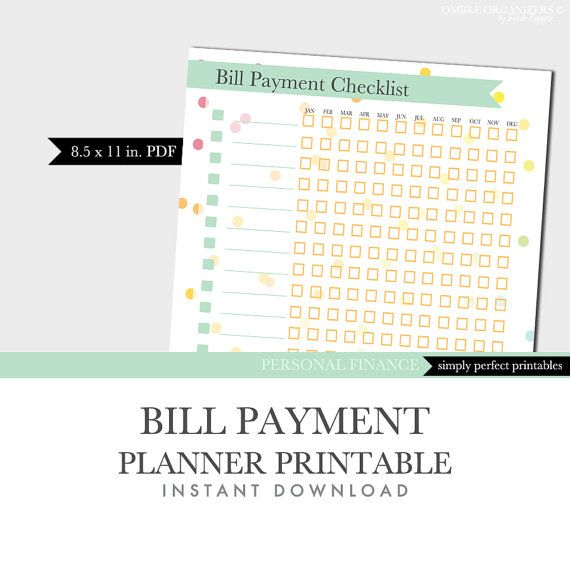 Bill payment checklist  organizer printable  by OmbreOrganizers, $2.99