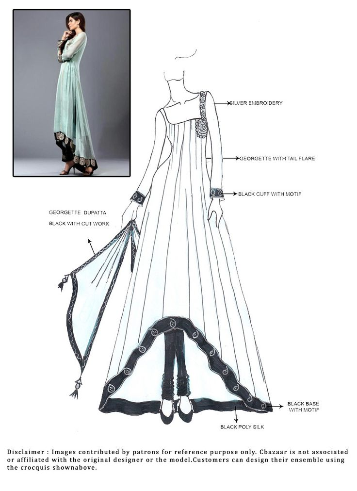 DIY Turquoise Anarkali Suit .. Like the asymmetrical hem and clear fashion drawing here for details