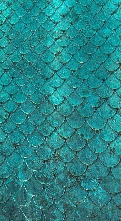 Teal scalloped tiles