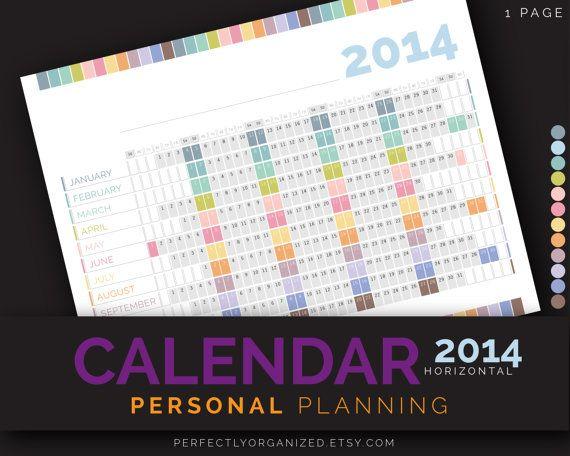 2014 Calendar Year Calendar Personal by PerfectlyOrganized on Etsy, $2.00