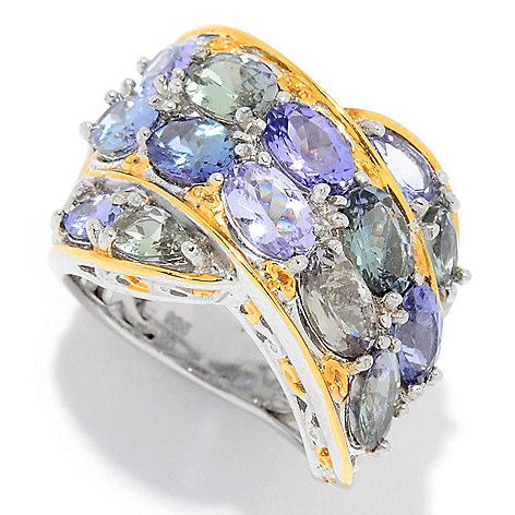160-107 - Gems en Vogue 5.32ctw Zoisite & Tanzanite Crossover Wide Band Ring