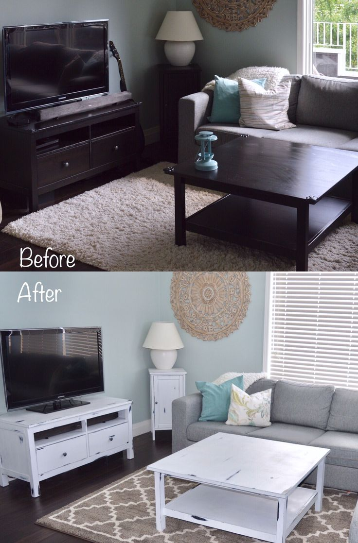 Ikea furniture makeover. A fresh update to the dark furniture set. Distressed, Rustic, and white! Plus see how cleaned up the sound bar from on top to hidden inside!