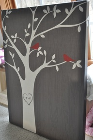 funky bird picture on canvas | Beautiful canvas painting of a tree with our initials and 2 birds from ...