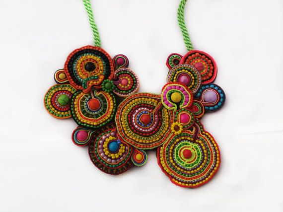 Multicolor Soutache Necklace Ethnic by JewelleryByKassandra