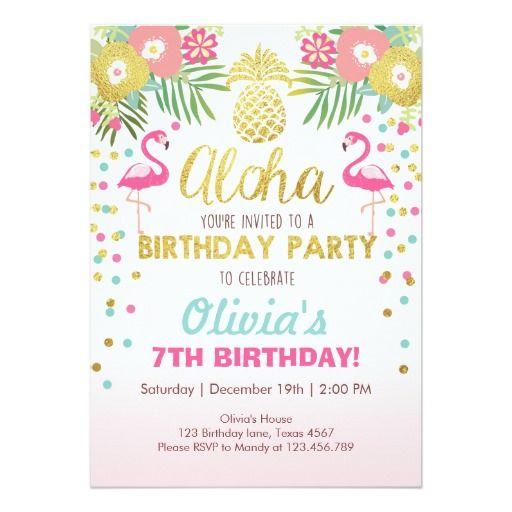 Luau tropical d'anniversaire d'invitation de carton d'invitation  12,7 cm x 17,78 cm                                                                                                                                                                                 Plus