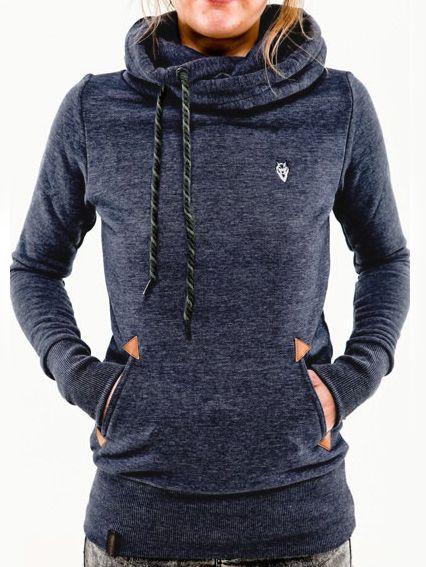 Blue Hooded Long Sleeve Pockets Sweatshirt 15.79