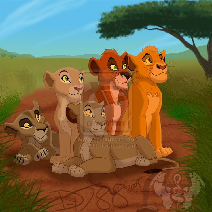 Zira, Sarafina, Sarabi, Taka (Scar) and Mufasa! I guess this was their family. Scar is so cute!!