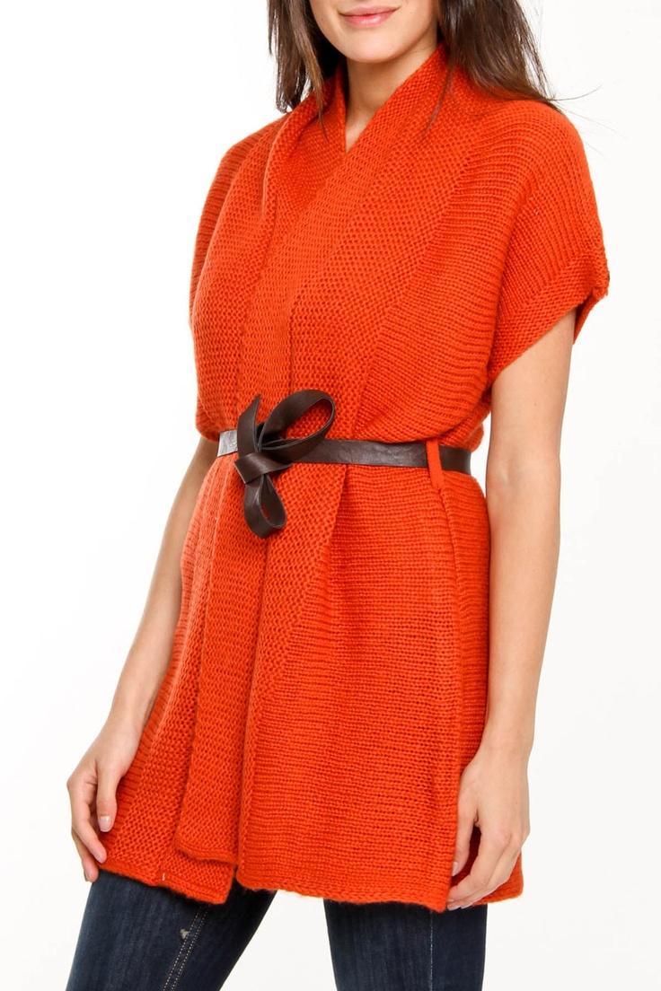 Short Sleeve Cardigan In Dark Orange.