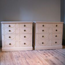 Good Pair Of Circa 1910 English Painted Chest Drawers Commodes Chests