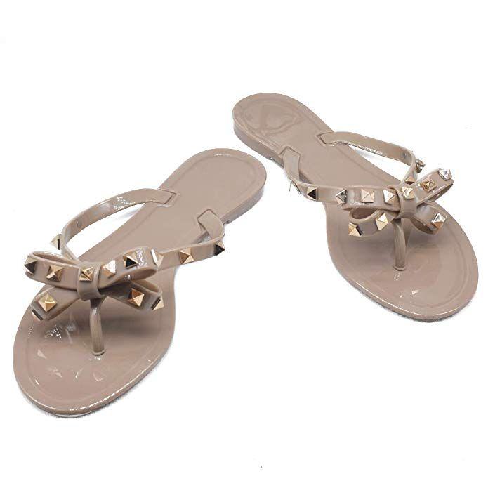 TAISFY Women Bow Rivets Flip-Flops Sandals Bowtie Jelly Thong Flats Rubber Beach…