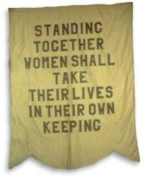 American suffrage movement GOLD BANNER WITH PURPLE LETTERING PRODUCED BY THE NATIONAL WOMAN'S PARTY. THE PARTY, IN SPITE OF ITS CLOSE TIES TO THE BRITISH MOVEMENT, ADOPTED THE TRADITIONAL AMERICAN COLOR OF GOLD.