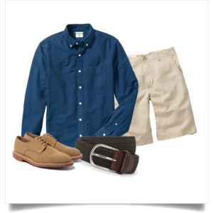 Polyvore: Navy OCBD, stone shorts, olive woven belt, tan suede oxfords.