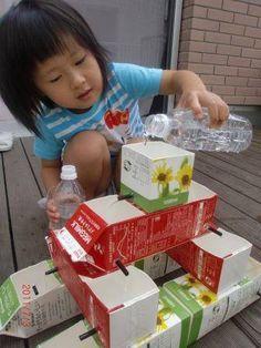 牛乳パック噴水☆