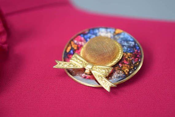 vintage 90s gold and multi color hat pin vint. 1990s vtg