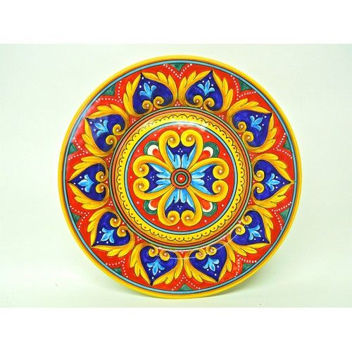 "Deruta dinnerware: Antico Geometrico 11.5"" Dinner Plate. Mix and match with other Antico dinner plates and Italian pottery from Bonechi Imports."