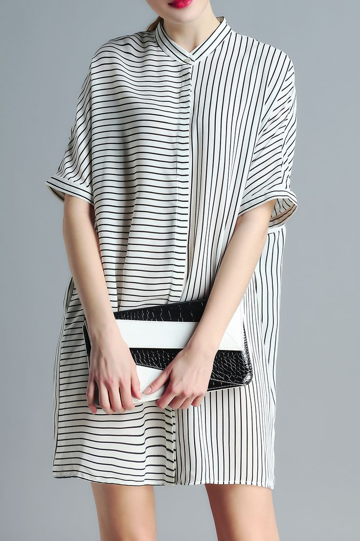 Striped Stand Neck Loose Fitting Dress More