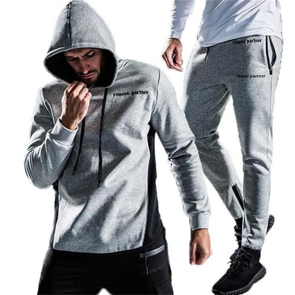 Men/'s Gym Tracksuit Hoodies Bottoms Training Jogging Suit Sweat Joggers Fitness