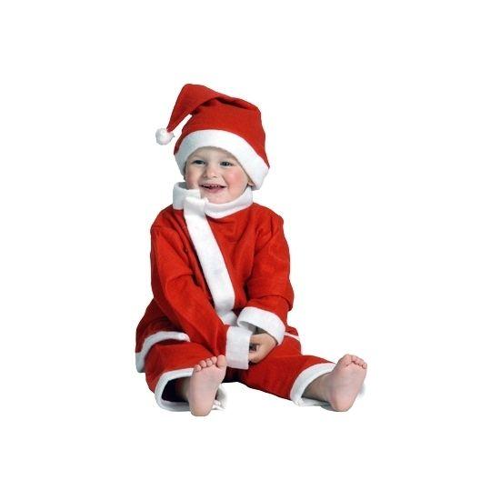 3-delig Kerstman peuter kostuum. Schattig kerst pakje voor een peuter van ongeveer 3 tot 4 jaar. Maat 98-104. Lengte jasje: ongeveer 46 cm. Lengte broekje: ongeveer 56 cm.