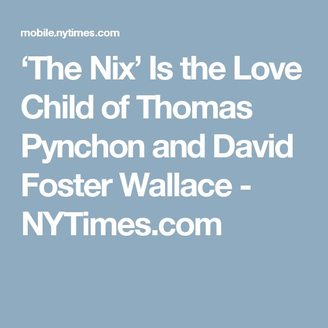 'The Nix' Is the Love Child of Thomas Pynchon and David Foster Wallace - NYTimes.com