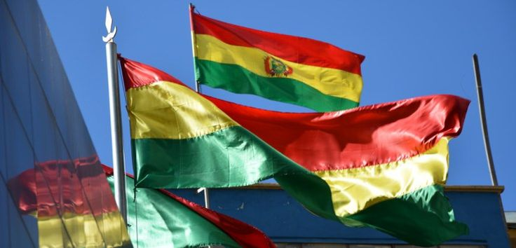 The Bolivian flag flying in La Paz