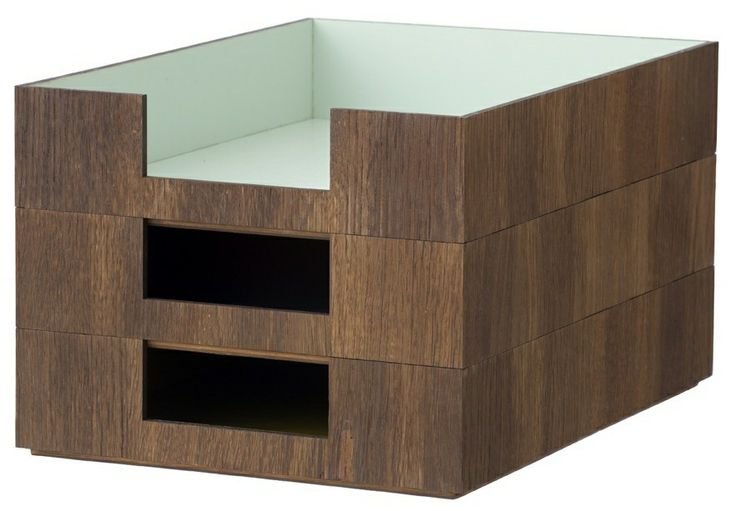 Storage with style, Walnut veneer with an mint interior, your papers will never look so good by Ferm Living.