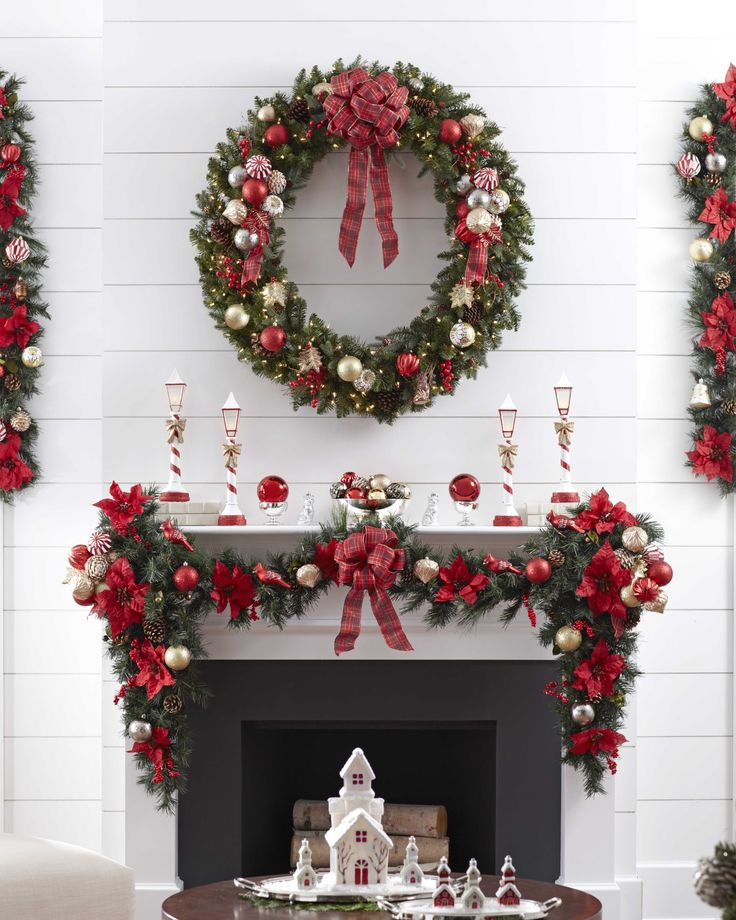 Traditional Red Christmas Mantel, live the Christmas village on the coffee  table