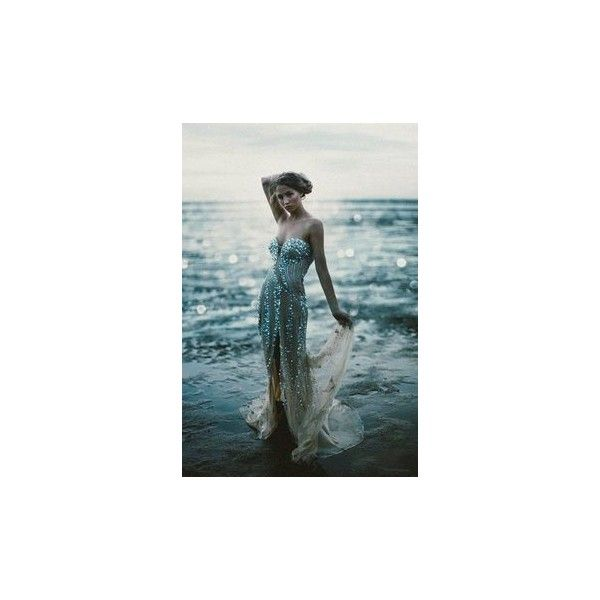 Mermaid Dresses ❤ liked on Polyvore featuring dresses, mermaid gown, blue dress, blue mermaid dress, mermaid dress and pin dress