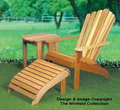 Adirondack Chair, Table & Ottoman Wood Plans