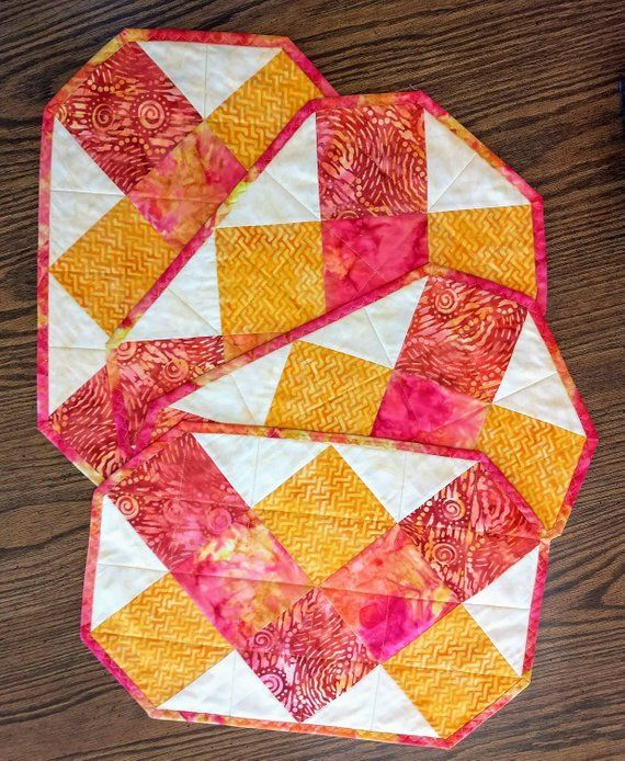 Set Of 4 Quilted Placemats Yellow And Red Placemats Etsy Place Mats Quilted Placemats Quilted Table Toppers