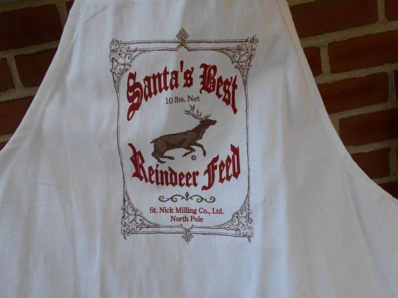 White apron Reindeer apron novelty apron Christmas apron