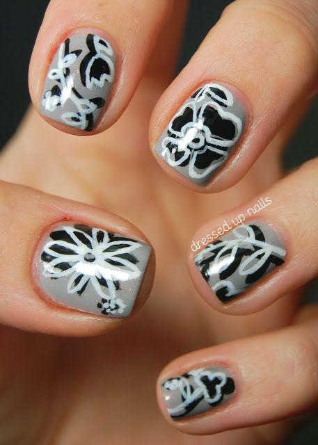 Monochromatic Floral Nail Art