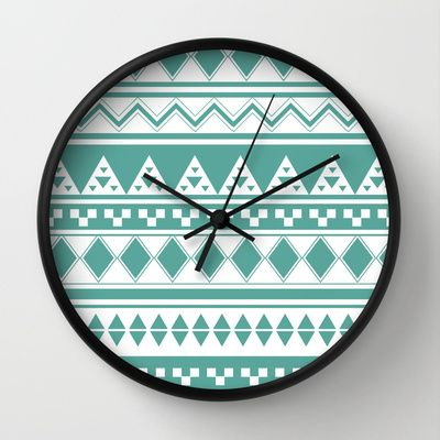 Turquoise Aztec Pattern Wall Clock by clickybird - Belinda Gillies - $30.00