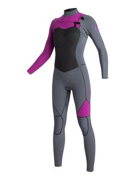 roxy, 4/3mm AG47 Performance Chest Zip - Combinaison de surf, Grey/Grey/Pink (xssm)