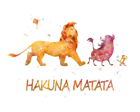Hakuna Matata Watercolor Inspired The Lion King Poster Lion King Print Simba Disney Gift Wall Art Christmas Gift Nursery Lion King Printable
