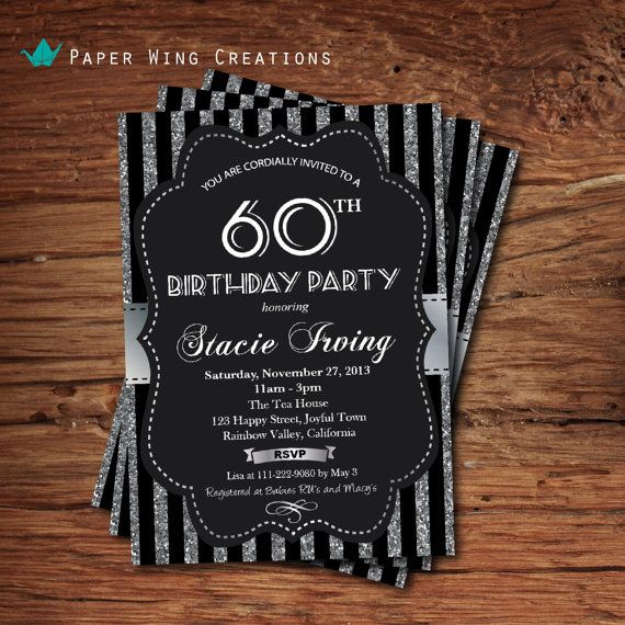 60th Birthday Invitation Silver Glitter Sequin Black Stripes And White Gala Party Invite 90th Printable DIY A