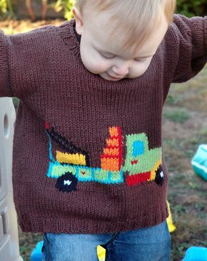 Iggle Piggle Knitting Pattern Jumper : Free Knitting Pattern for Truck Sweater for Babies and Children - Long-sleeve...