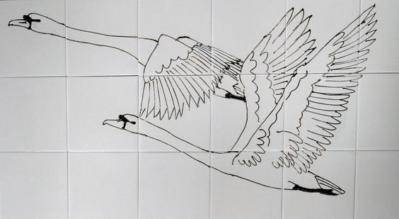 Swans bespoke contemporary kitchen tiles. One section of a long panel  i made to run across a large barn conversion kitchen. Bronwyn Williams-Ellis