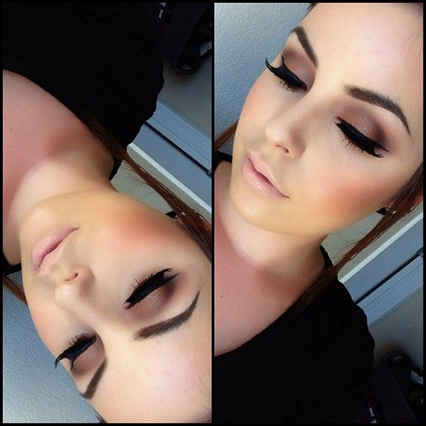 soft brown eye Makeup and nude lip
