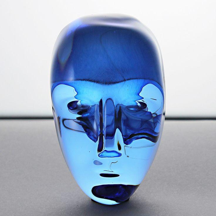 Bertil Vallien (Brains 21st Century) Brilliant Blue Glass Head with Heart