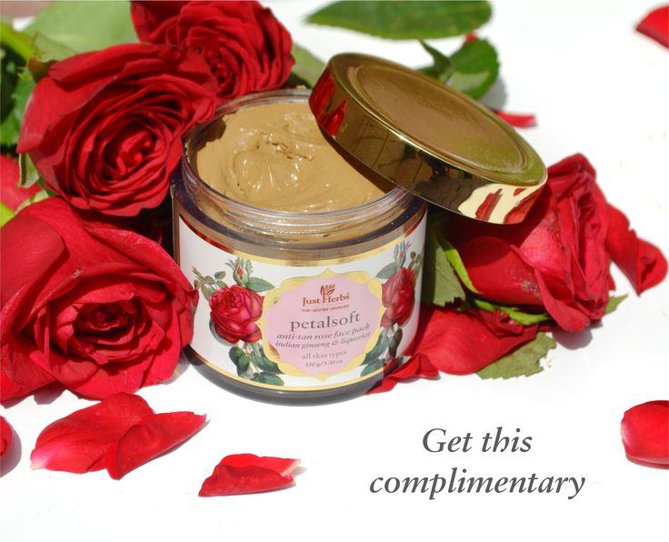 Use coupon code PETAL123 and get a complimentary Petalsoft Anti-tan Rose Face Pack on shopping worth Rs.3000 and above.  #roses #petals #luxuryroses #petalsoft #justherbsindia #antitan