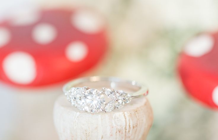 Engagement Ring, Mushrooms, Spring, Flower Band, Diamond Accents
