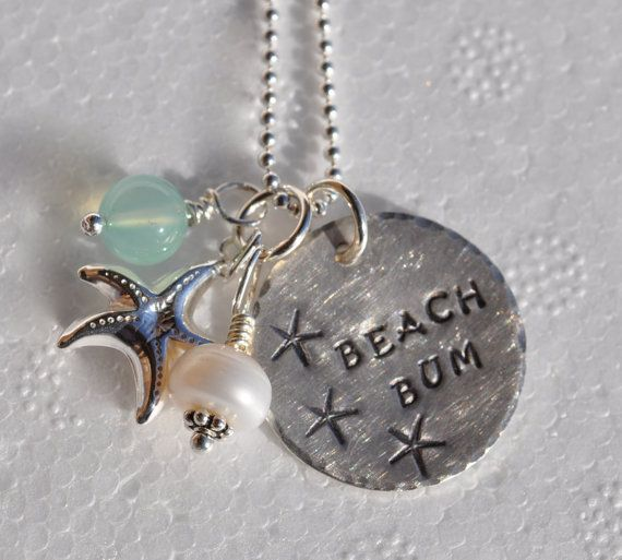 Beach Bum  handstamped necklace by CarriesCustomDesigns on Etsy, $45.00